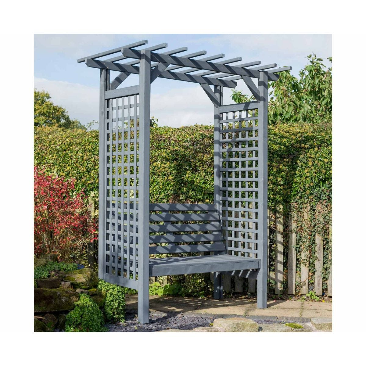 Rowlinson Sorrento Square Arbour Garden Furniture, Grey