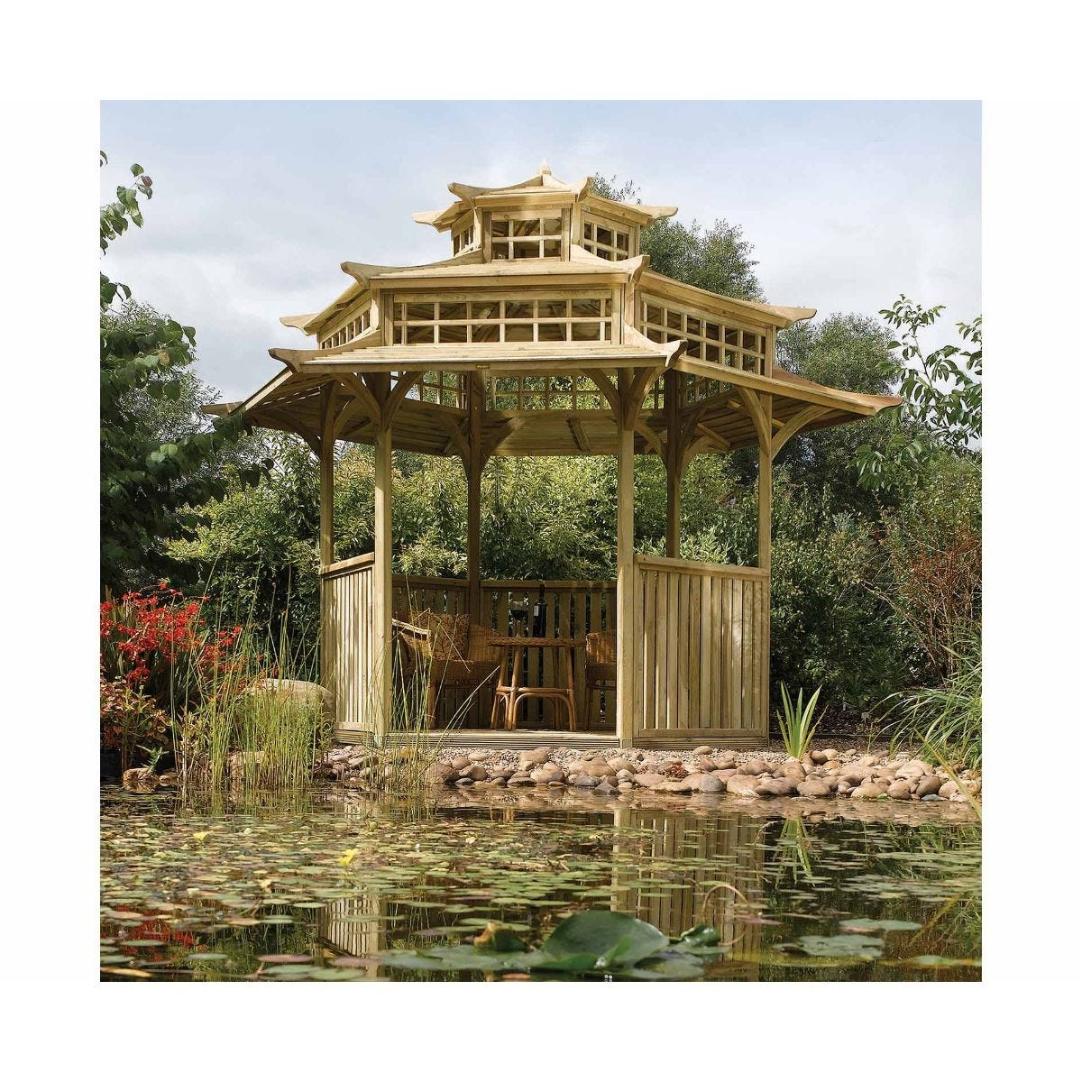 Rowlinson Oriental Pagoda Garden Furniture, Natural