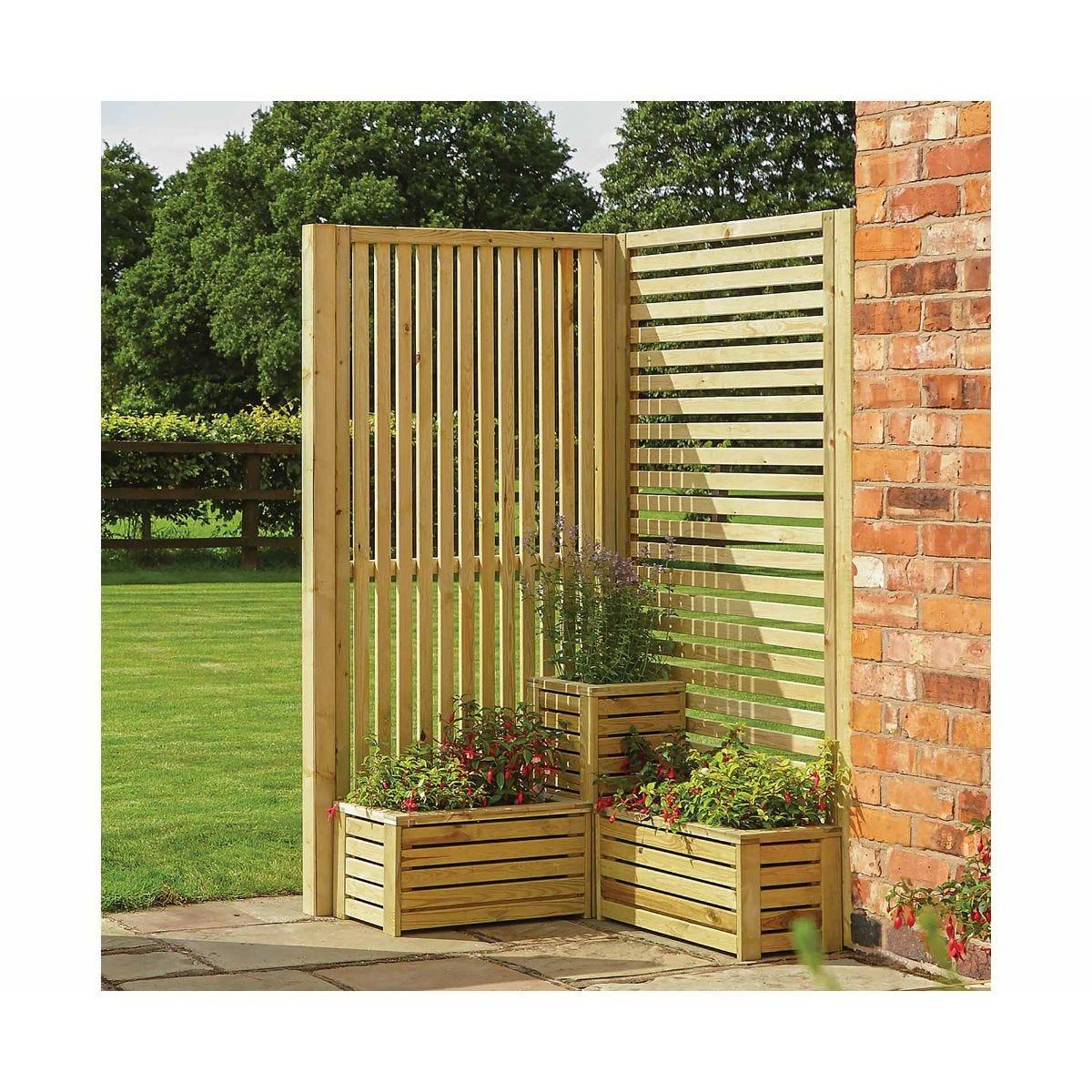 Rowlinson Garden Creations Corner Screen and Planter Set, Natural