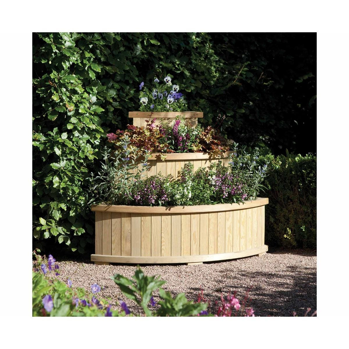 Rowlinson Marberry Corner Cascade Wooden Garden Planter