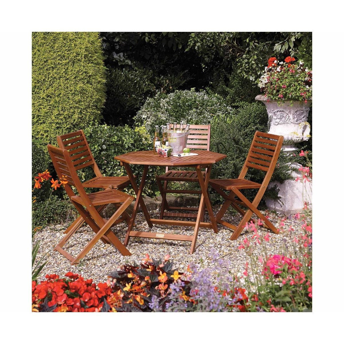 Rowlinson Plumley Garden 4 Seater Dining Set, Brown