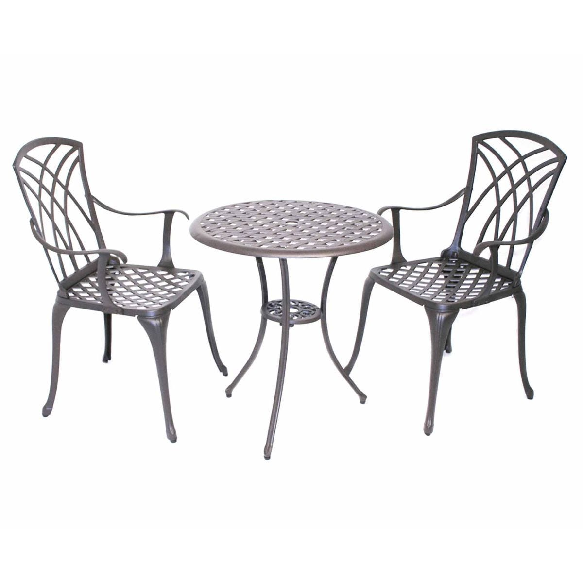 Charles Bentley Cast Aluminium Bistro Table and 2 Armchairs Set with Cushions, Black