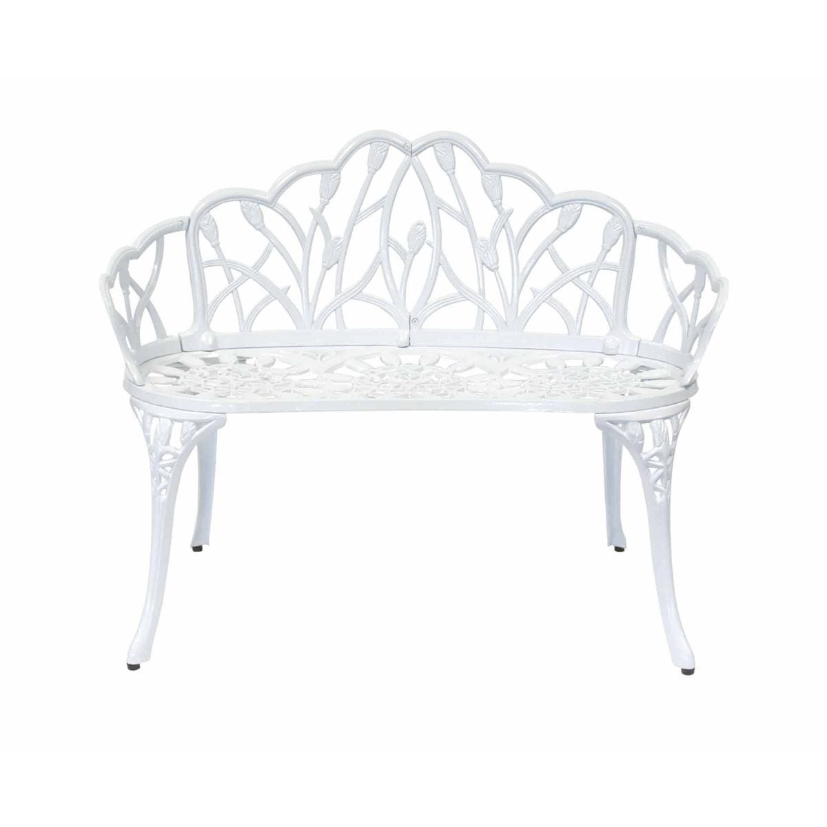 Charles Bentley Cast Aluminium Tulip 2 Seater Garden Bench, White