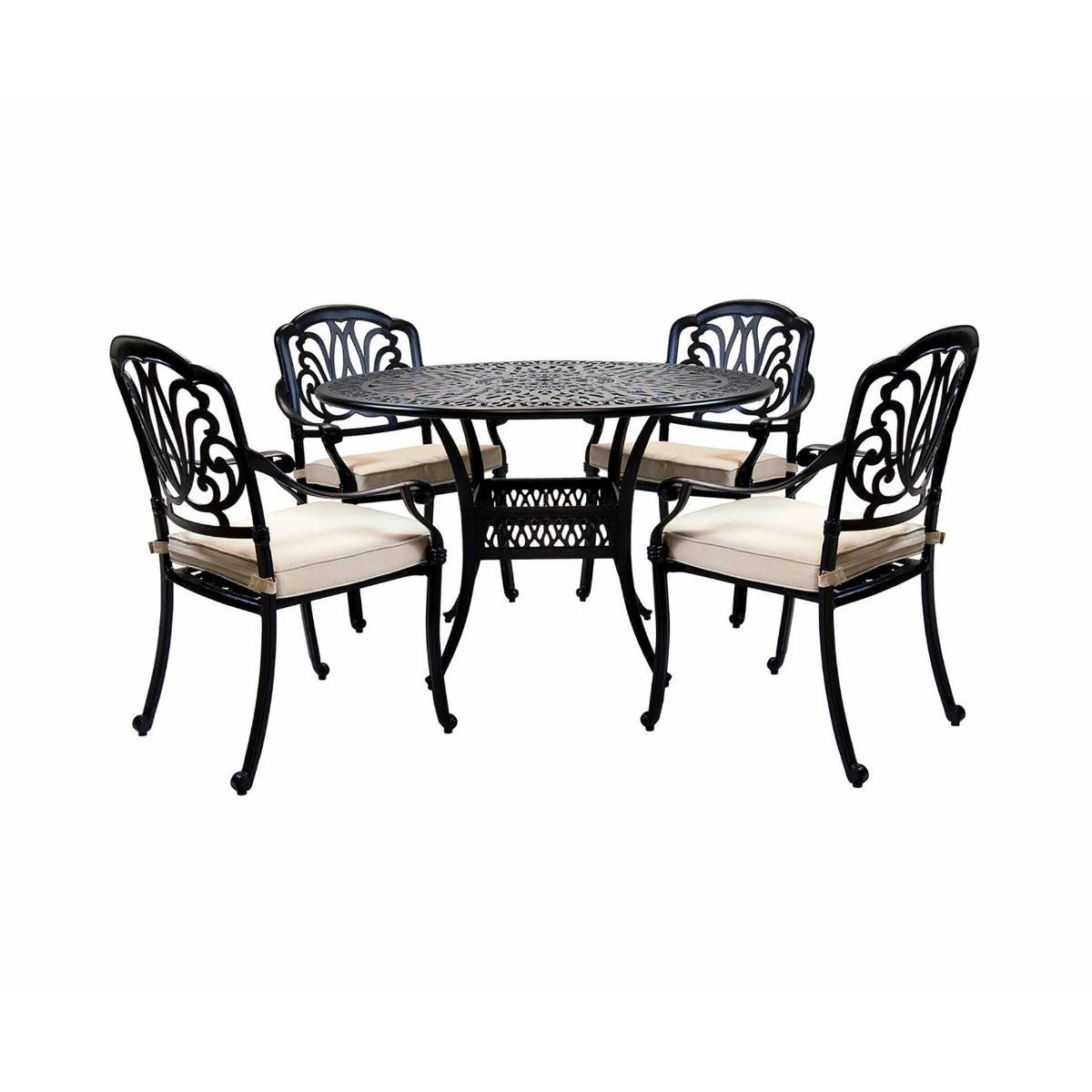Charles Bentley Cast Iron Garden Dining Set 4 Seater, Black