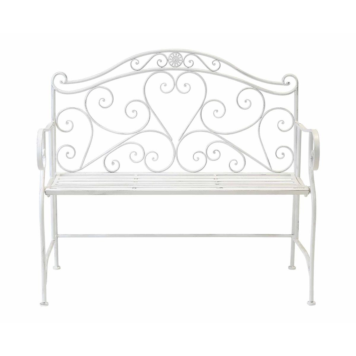 Charles Bentley Wrought Iron Garden Bench, White