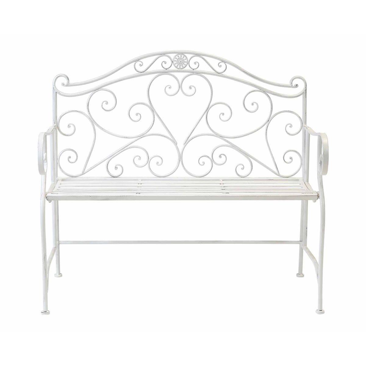 Charles Bentley Wrought Iron Garden Bench, White