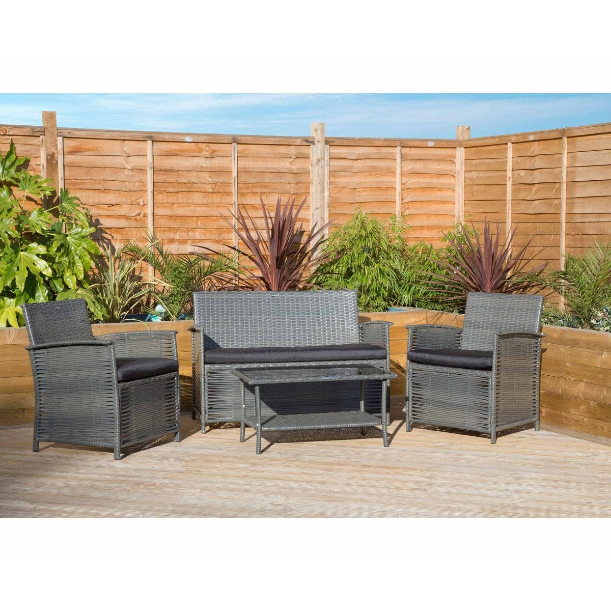 Charles Bentley Rattan Garden Furniture Table and Chairs Set, Black