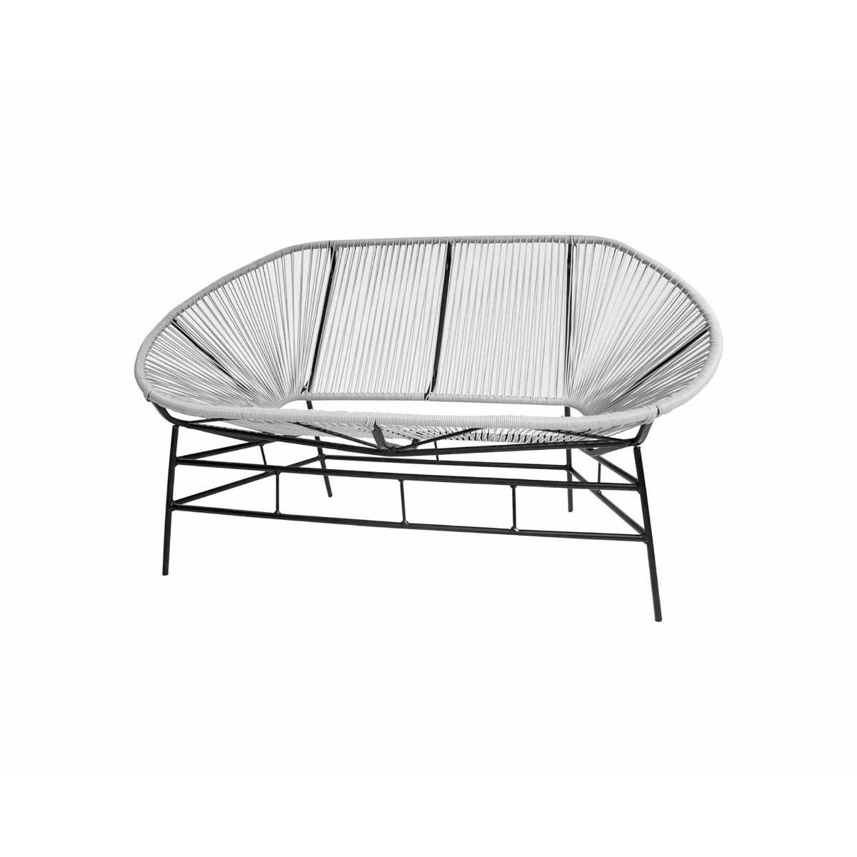 Charles Bentley Retro Rattan Garden Bench, Grey