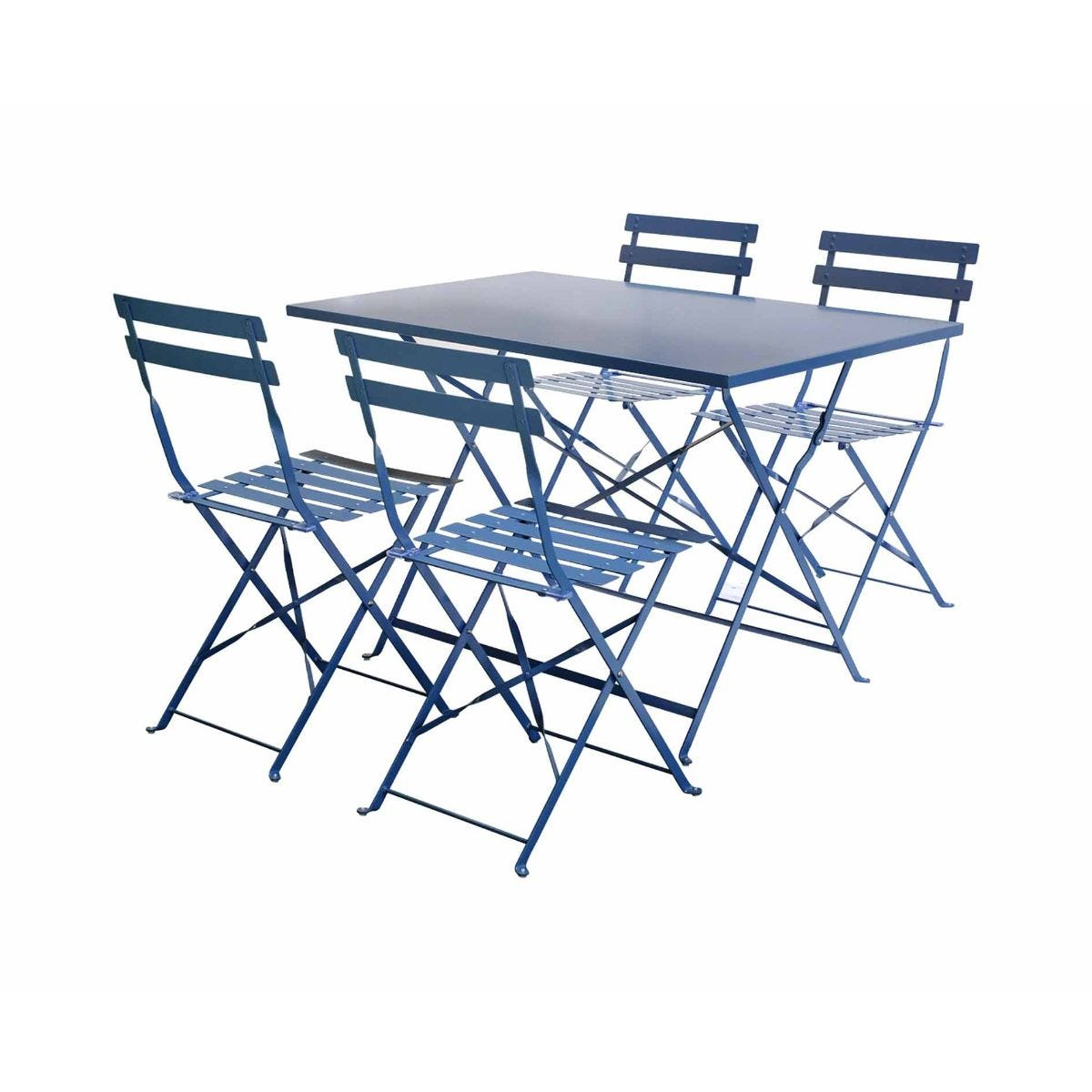 Charles Bentley Rectangular Metal Folding Dining Set, Navy
