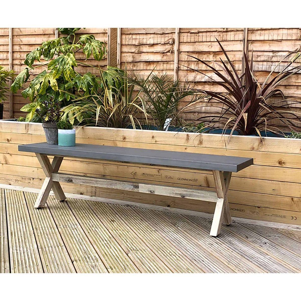 Charles Bentley Concrete Wood Garden Bench, Grey
