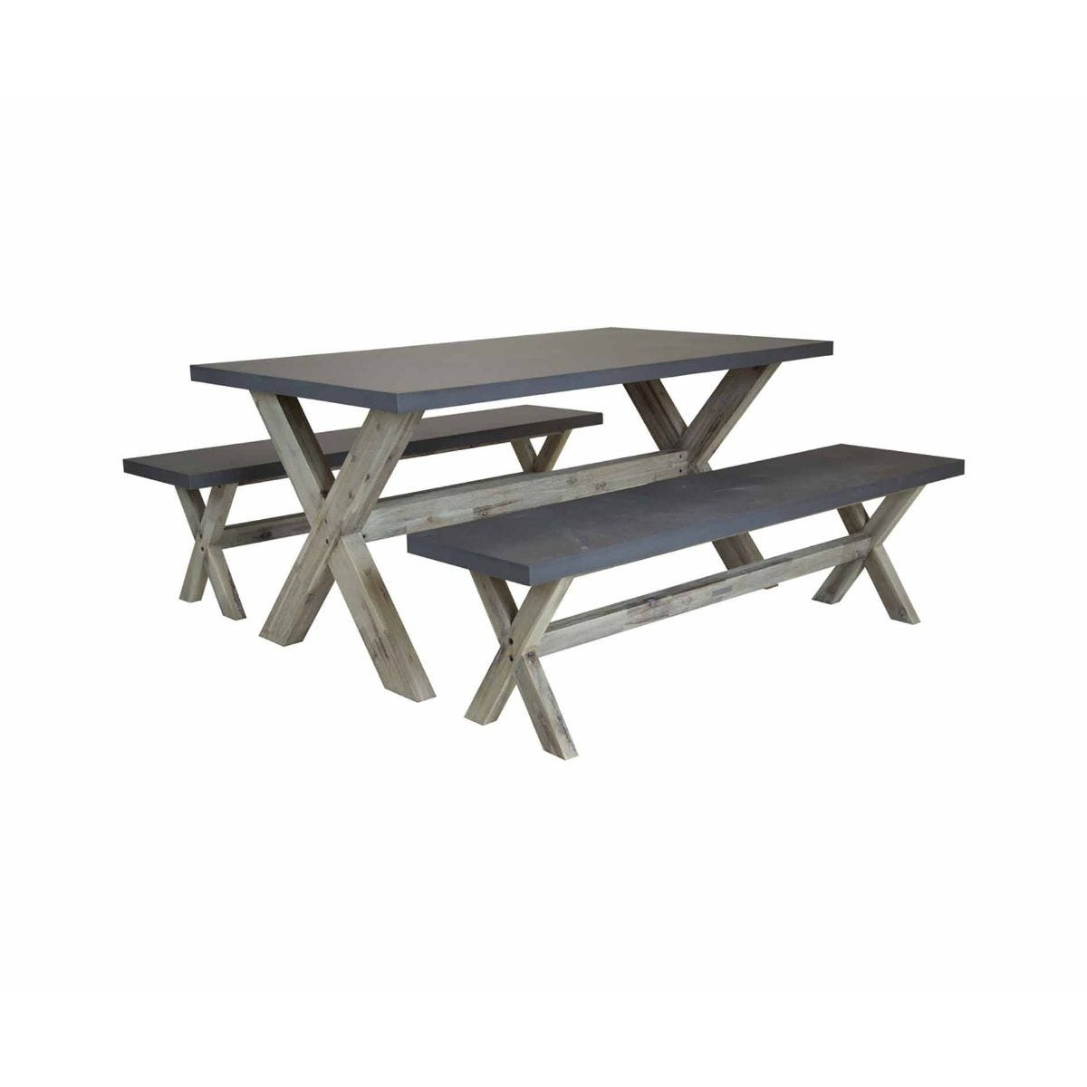 Charles Bentley Concrete Wood Dining Set, Grey