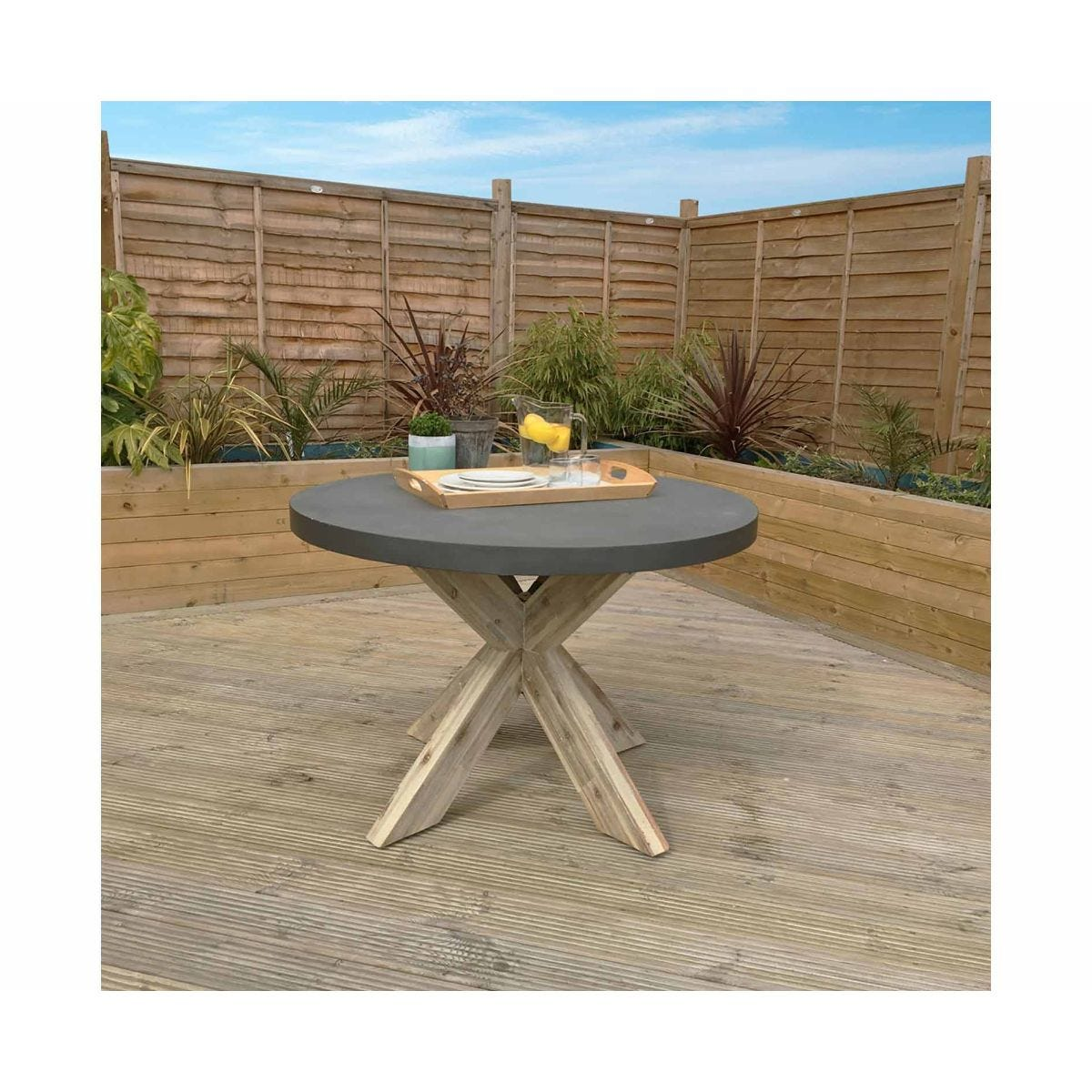 Charles Bentley Concrete Wood Round Garden Dining Table, Grey