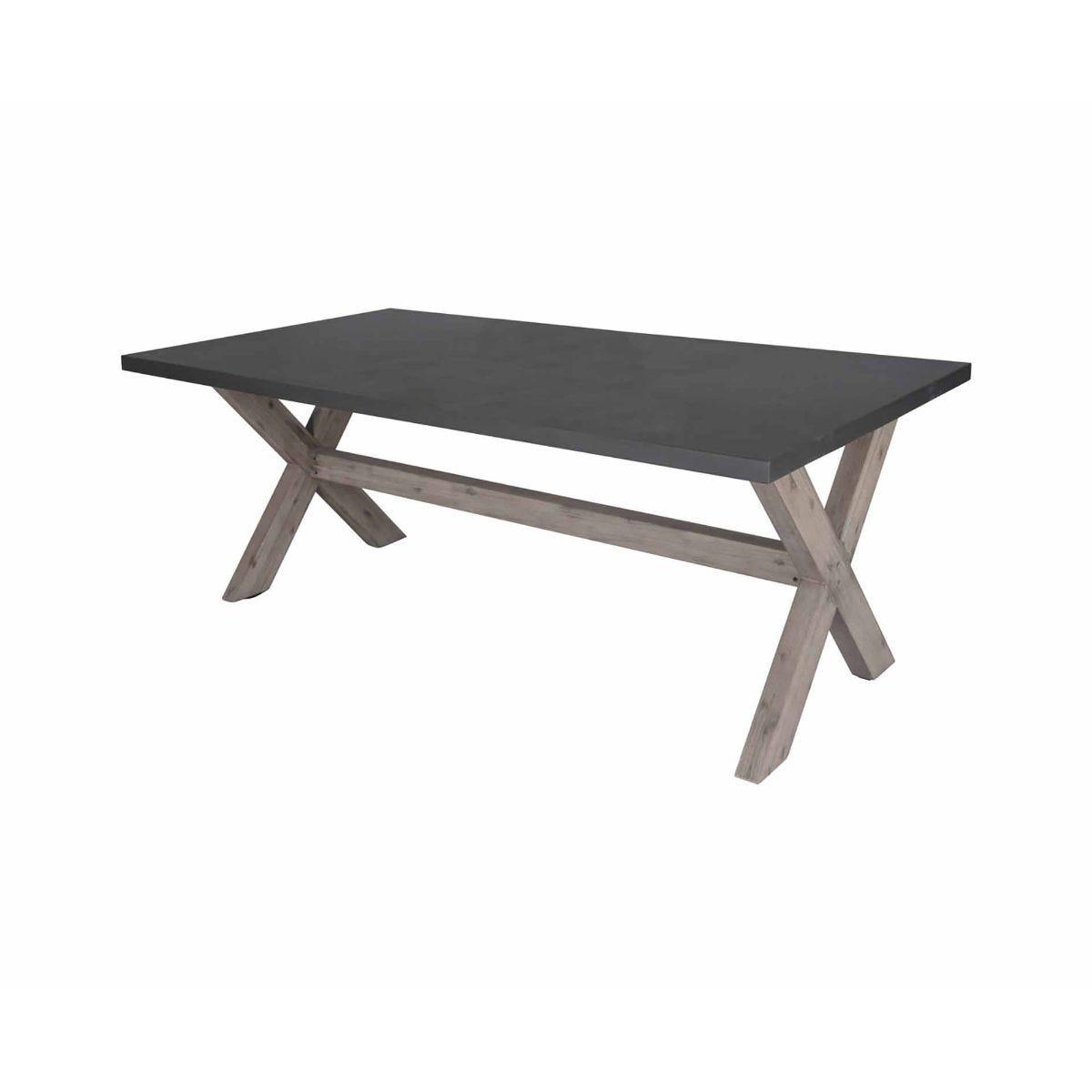 Charles Bentley Concrete Wood Rectangular Garden Dining Table, Grey