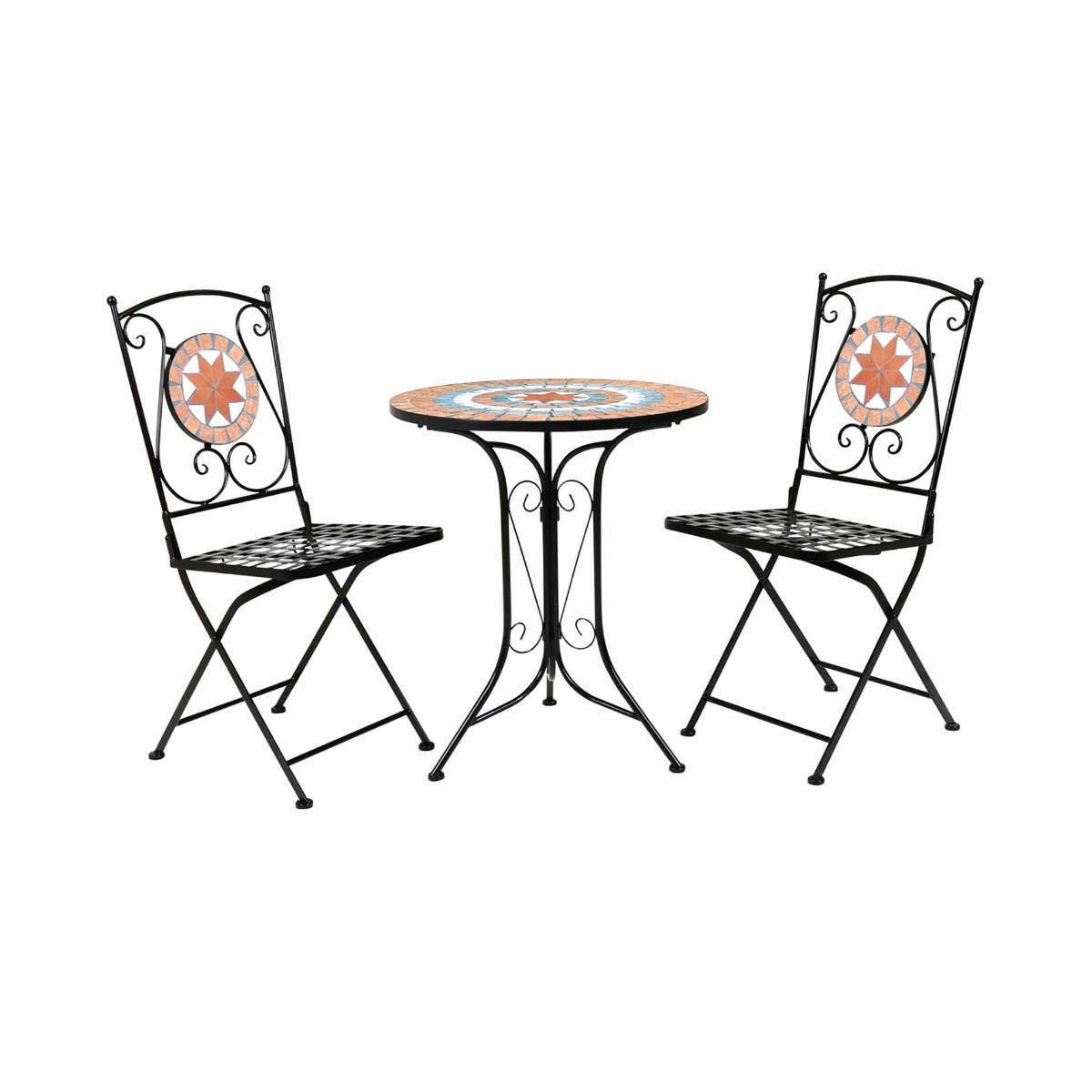 Charles Bentley Terracotta Mosaic 3 Piece Garden Table and Chairs Set, Orange