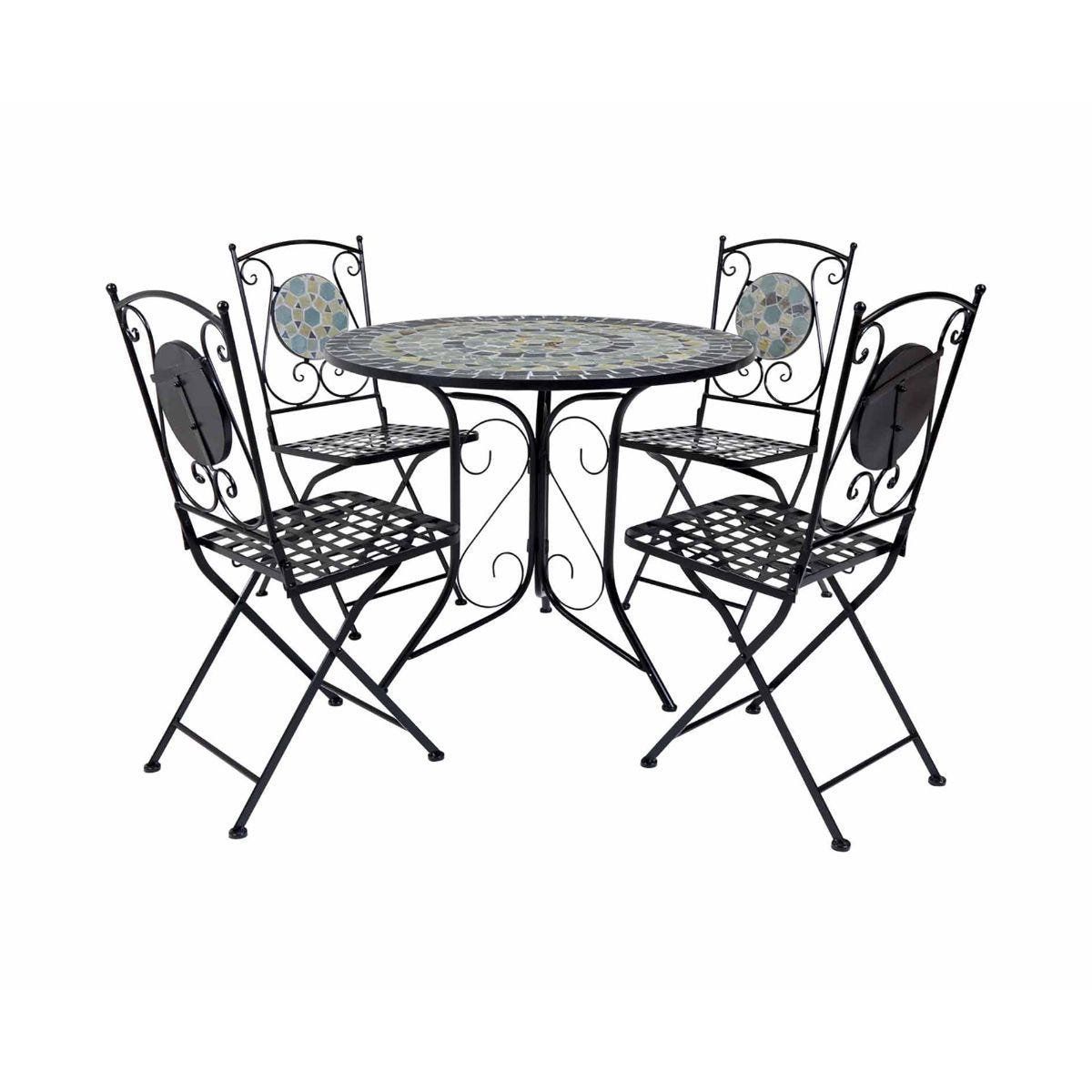Charles Bentley Blue Mosaic 5 Piece Garden Table and Chairs Set, Blue