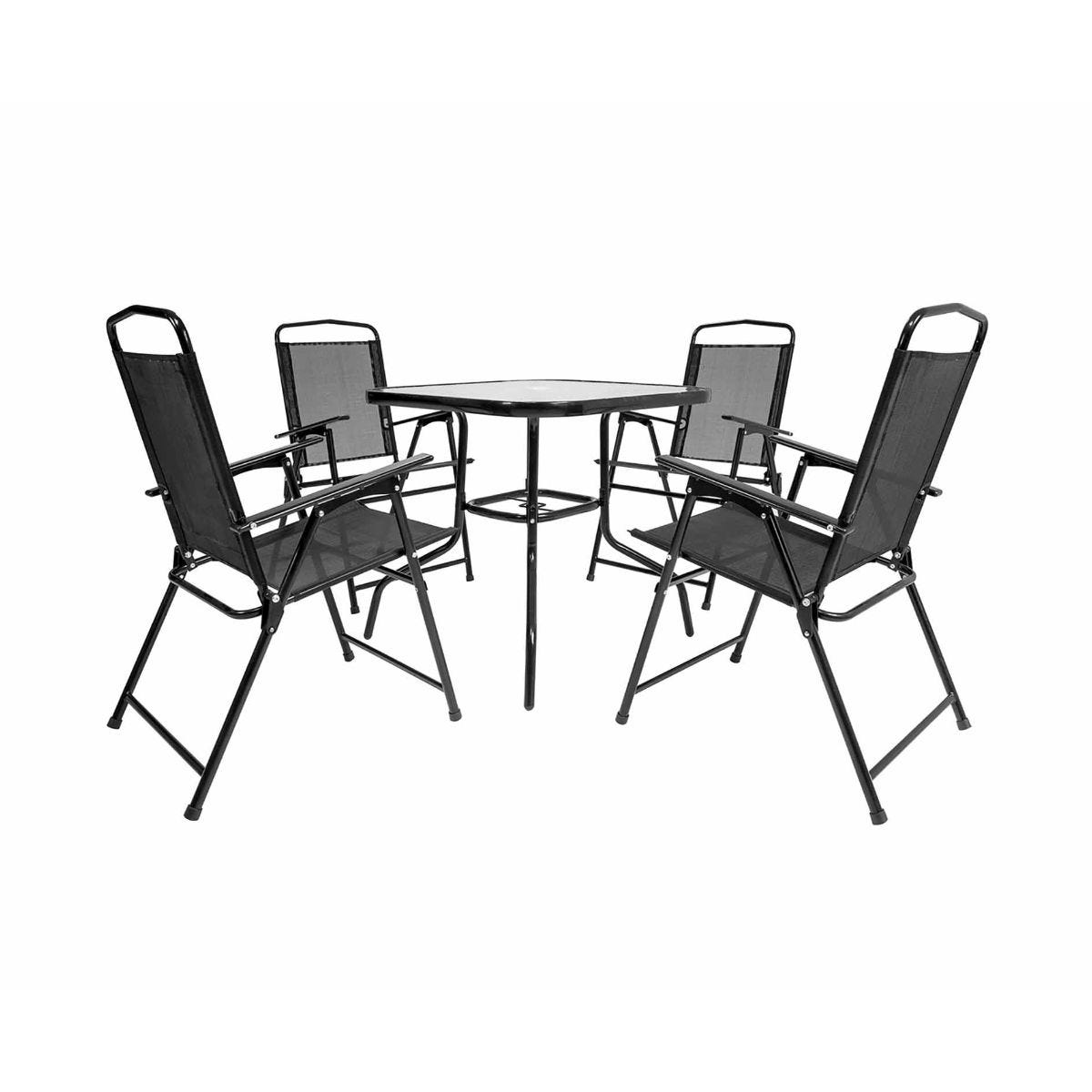 Charles Bentley Garden Mesh Square 4 Seater Dining Set, Black
