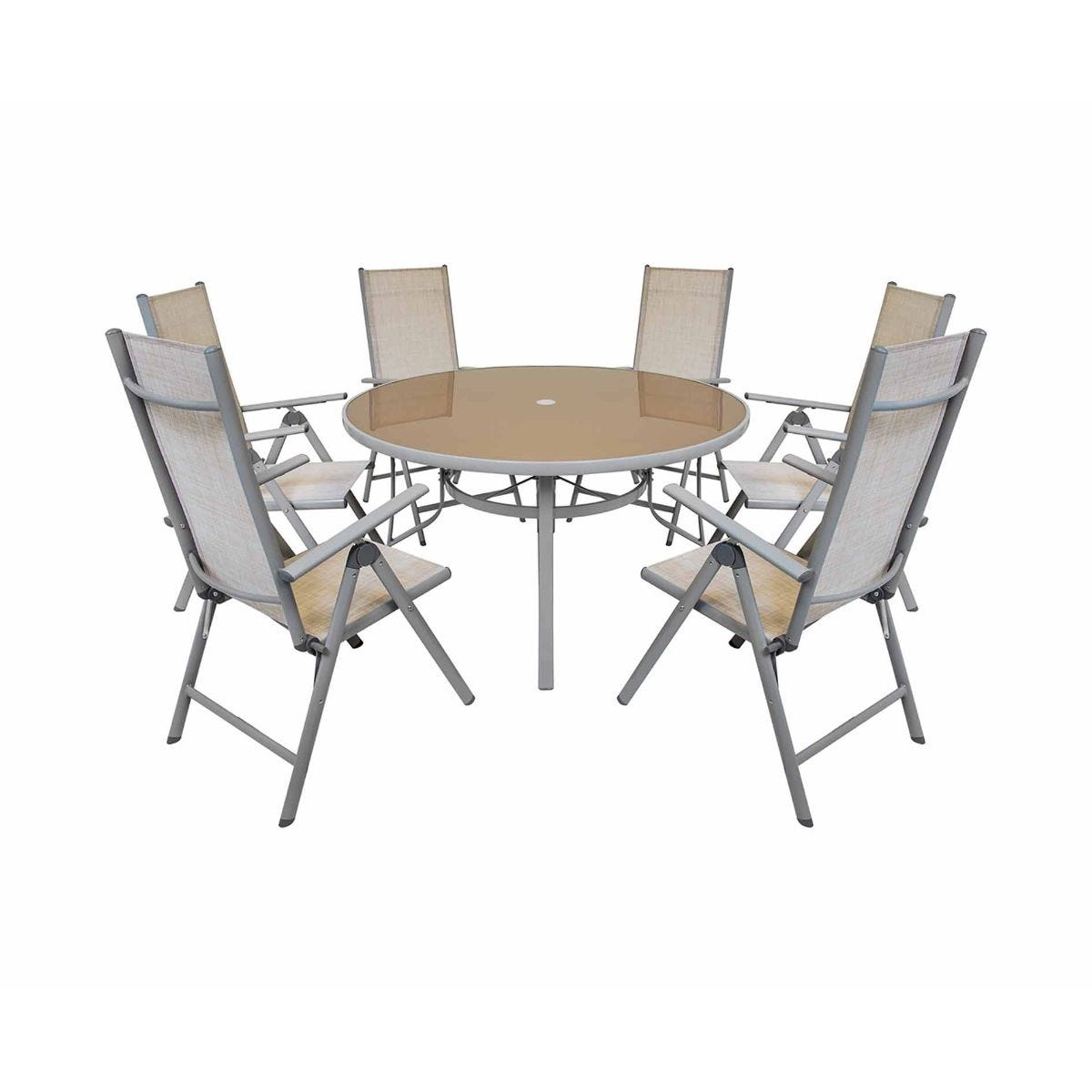 Charles Bentley Garden Mesh Round 6 Seater Dining Set, Beige
