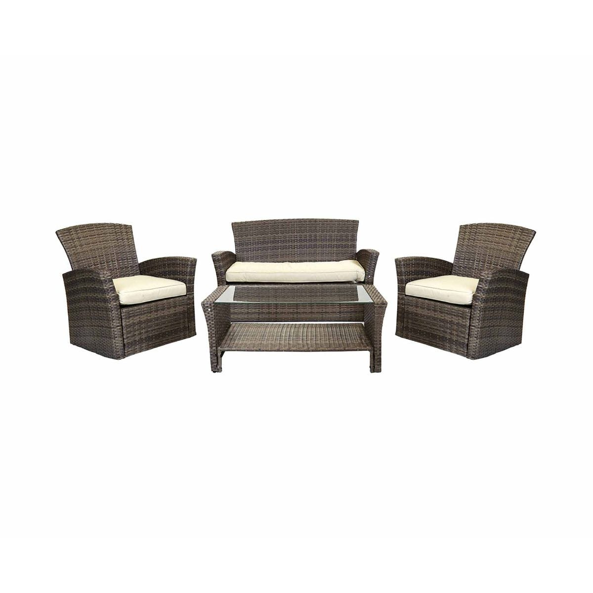 Charles Bentley Verona Deluxe Garden Rattan 4 Piece Table and Chairs Set, Brown