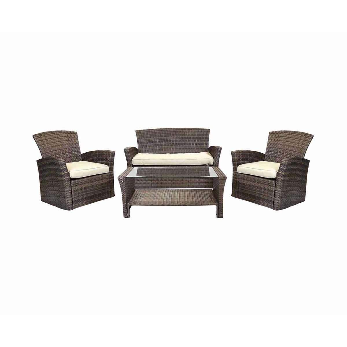 Charles Bentley Verona Deluxe Garden Rattan 4 Piece Table and Chairs Set, Brown