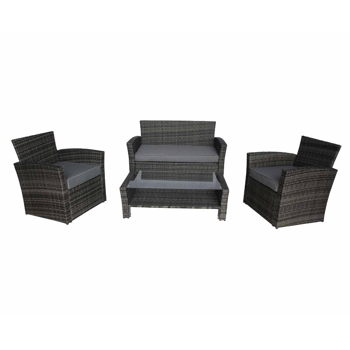 Charles Bentley Verona Deluxe Garden Rattan 4 Piece Table and Chairs Set, Grey