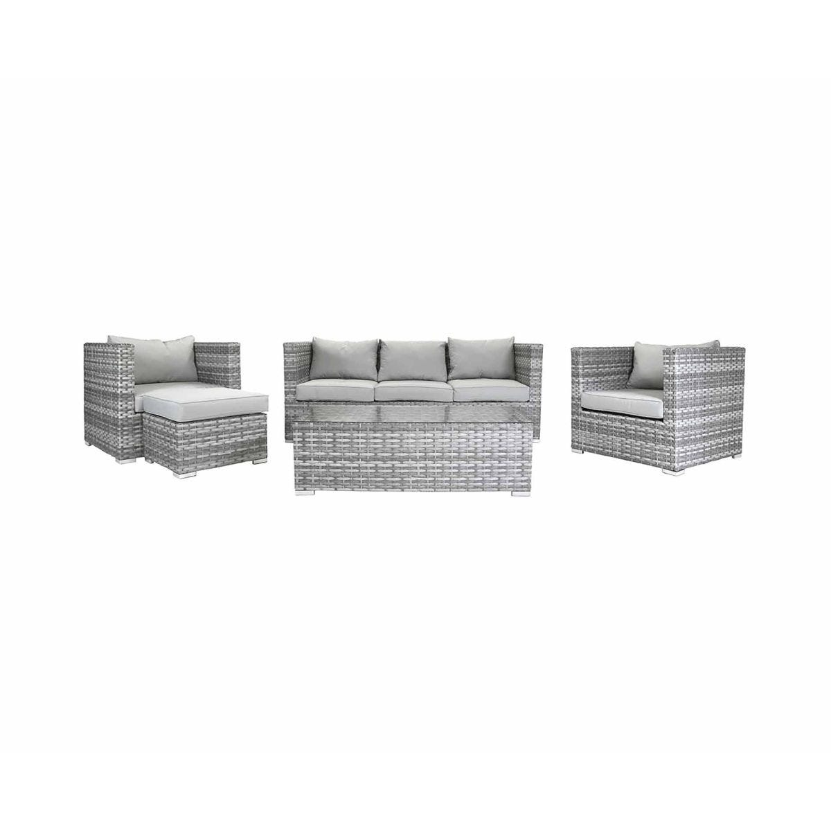 Charles Bentley Milano Rattan 5 Seater Garden Lounge Set, Grey