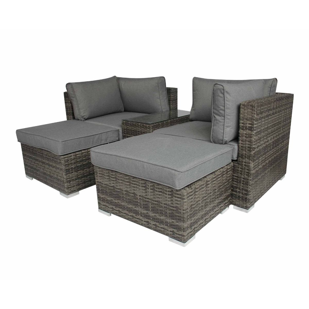 Charles Bentley Verona 5 in 1 Multifunctional Rattan Garden Lounge Set, Grey