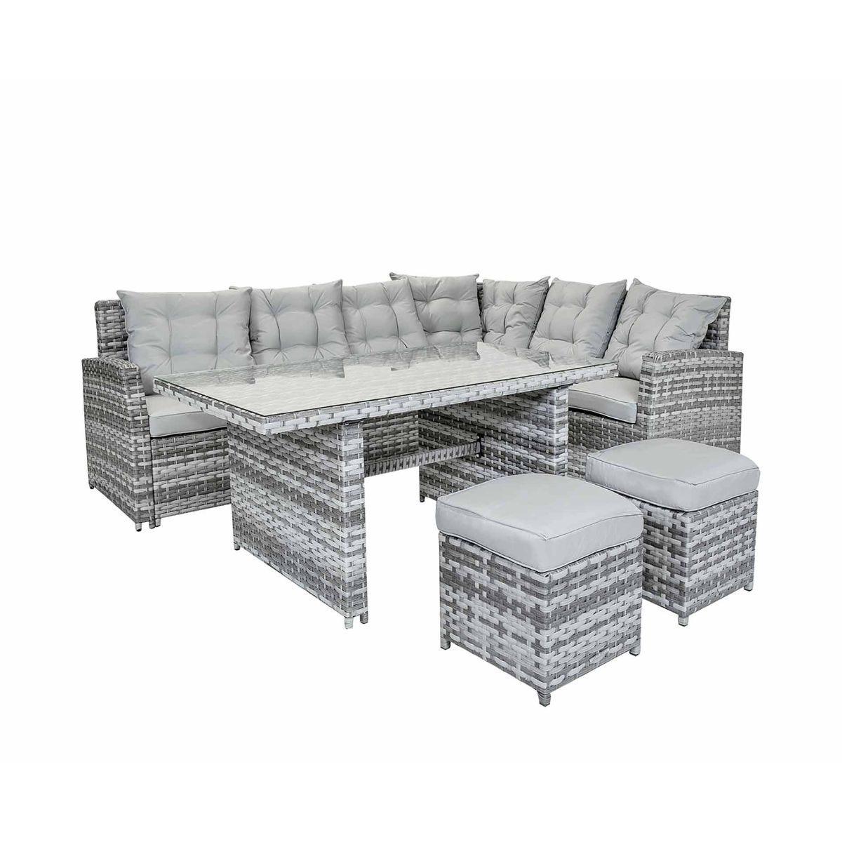 Charles Bentley Milano 6 Seater Multifunctional Rattan Garden Lounge Set, Grey