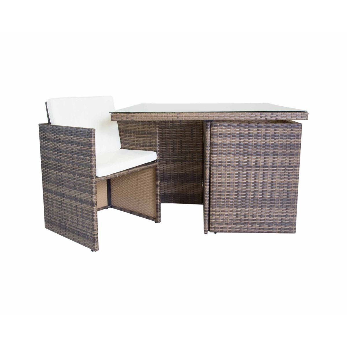 Charles Bentley Verona 4 Seater Rattan Cube Dining Set, Brown
