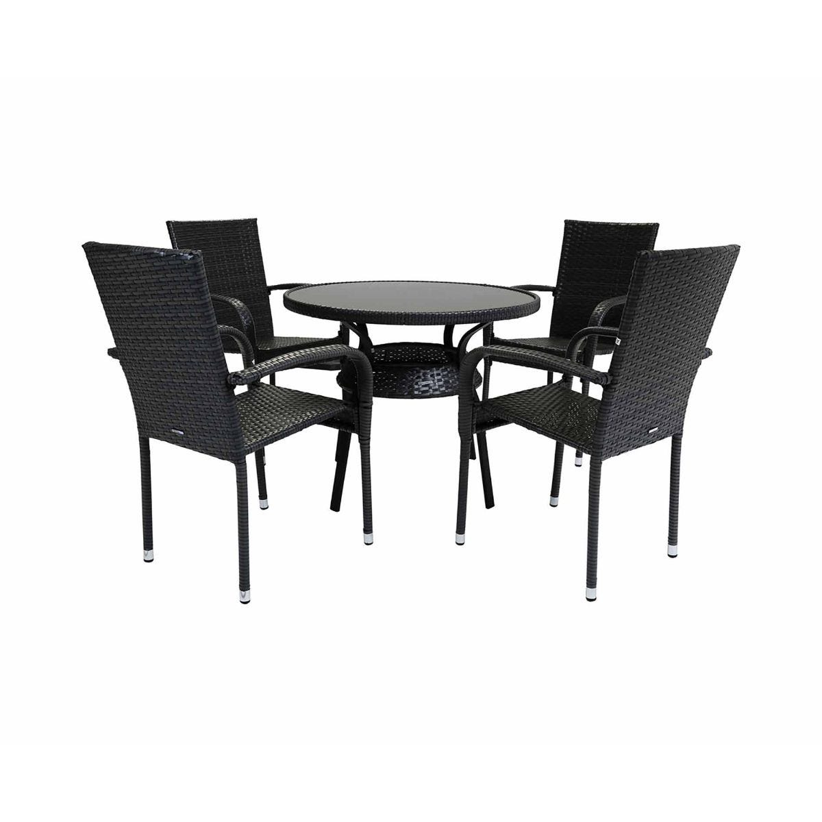 Charles Bentley Amalfi 4 Seater Round Rattan Garden Dining Set, Grey