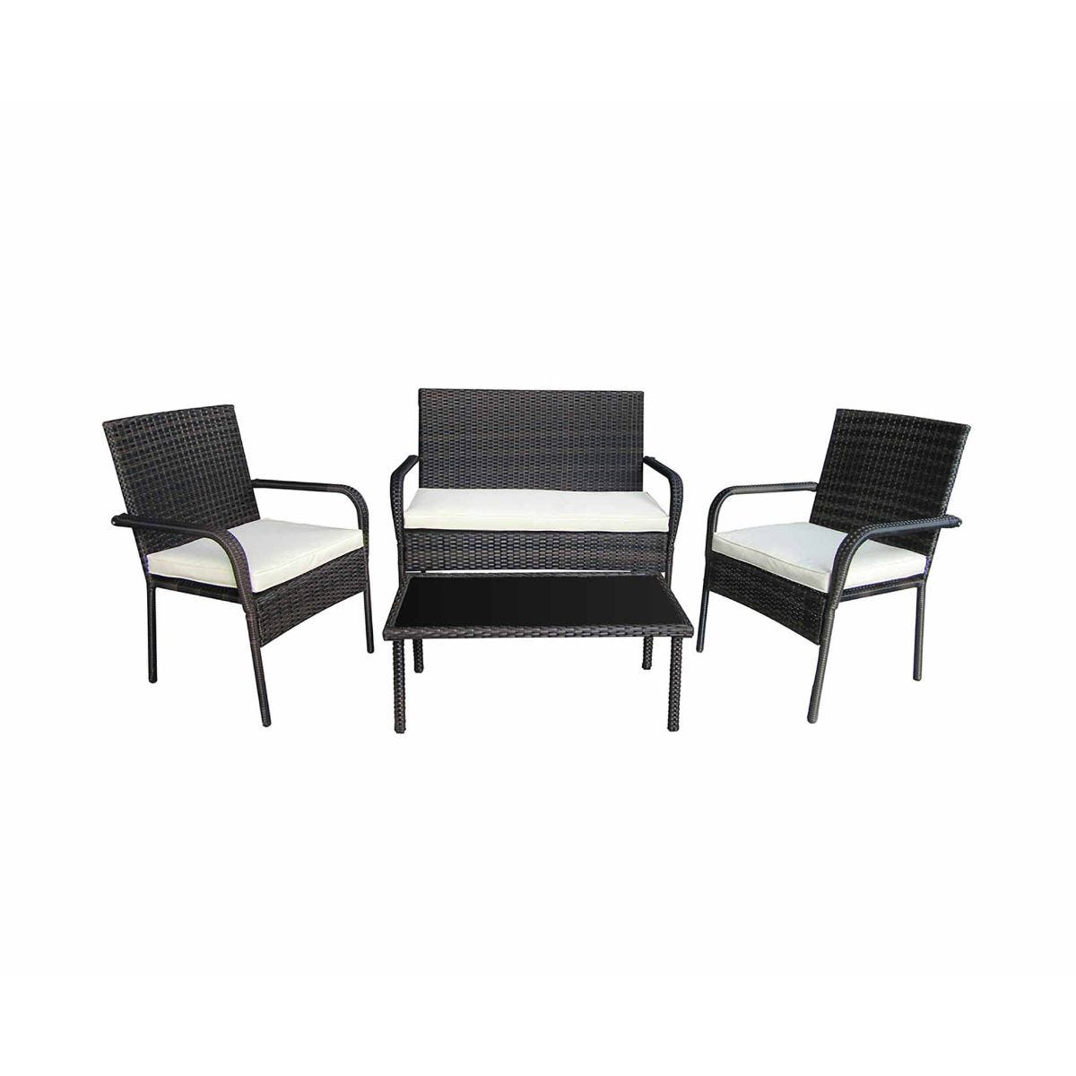 Charles Bentley 4 Piece Rattan Garden Lounge Set, Brown