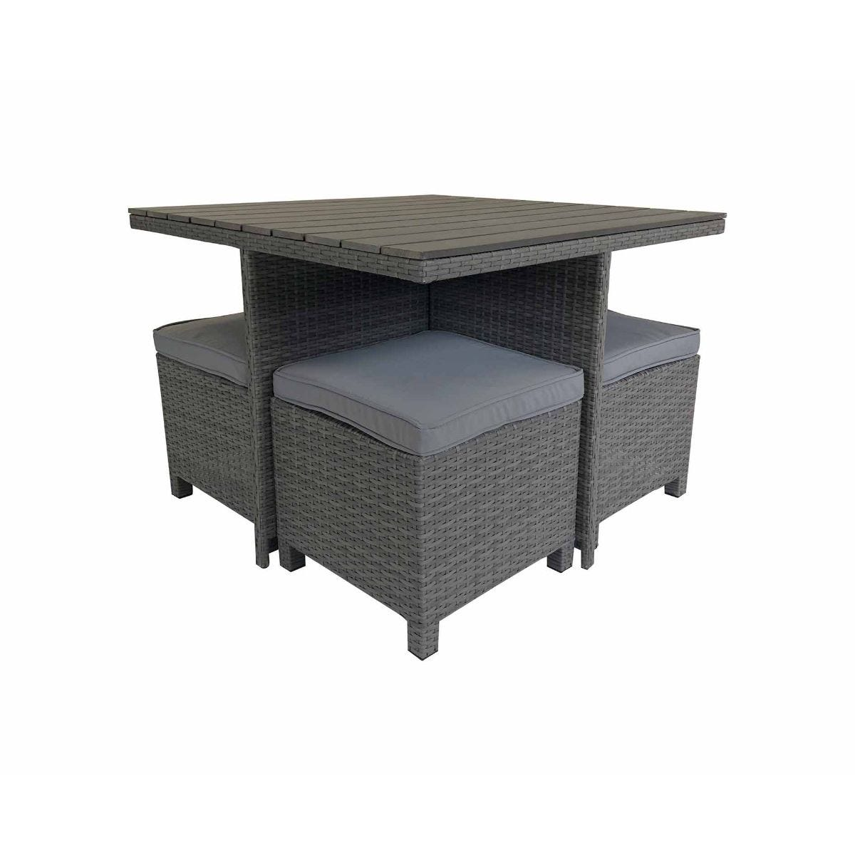 Charles Bentley Garden Rattan Polywood Cube 4 Seater Dining Set, Grey