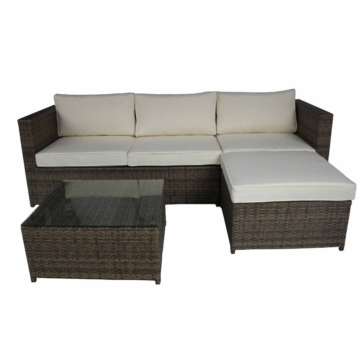 Charles Bentley Verona L-Shaped 3 Seater Rattan Garden Lounge Set, Brown