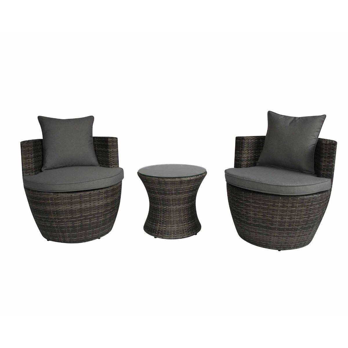 Charles Bentley Napoli Rattan Stacking 3 Piece Garden Furniture Set, Grey