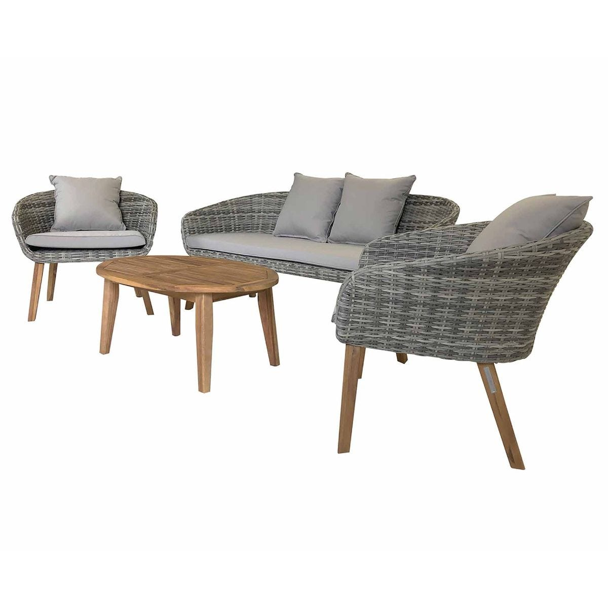 Charles Bentley Madrid Rattan Garden Lounge Set, Grey