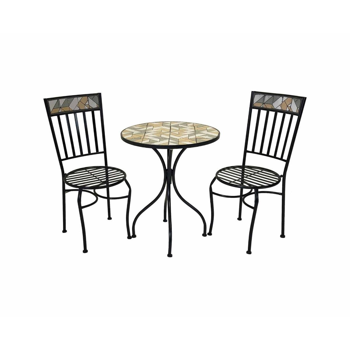 Charles Bentley Geometric Mosaic 3 Piece Garden Bistro Set, Multi