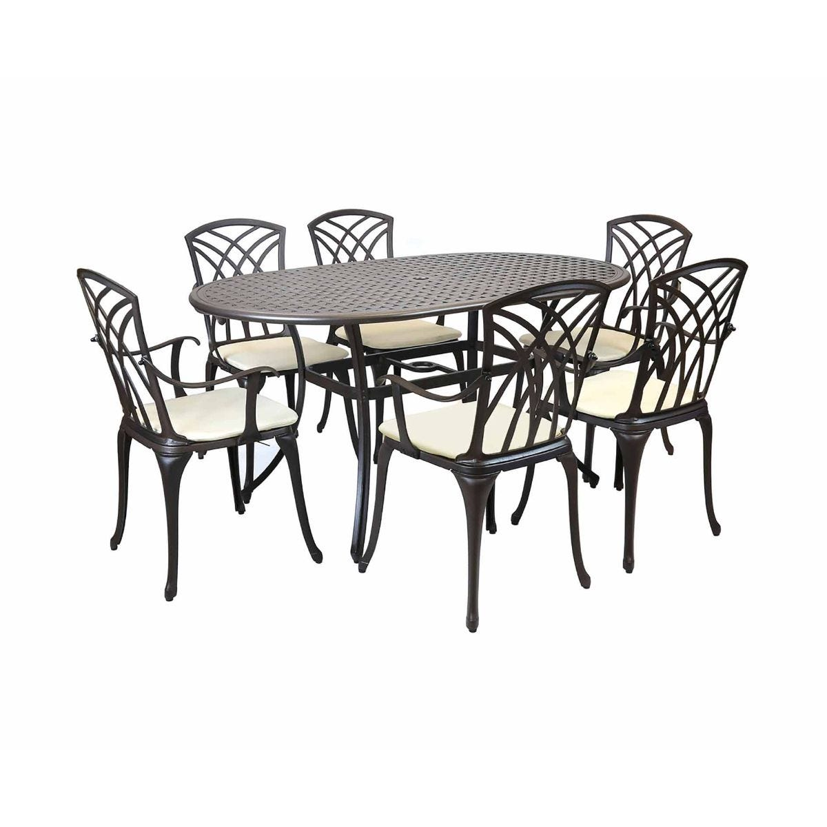Charles Bentley Cast Aluminium Garden Dining Set 6 Seater, Dark Brown
