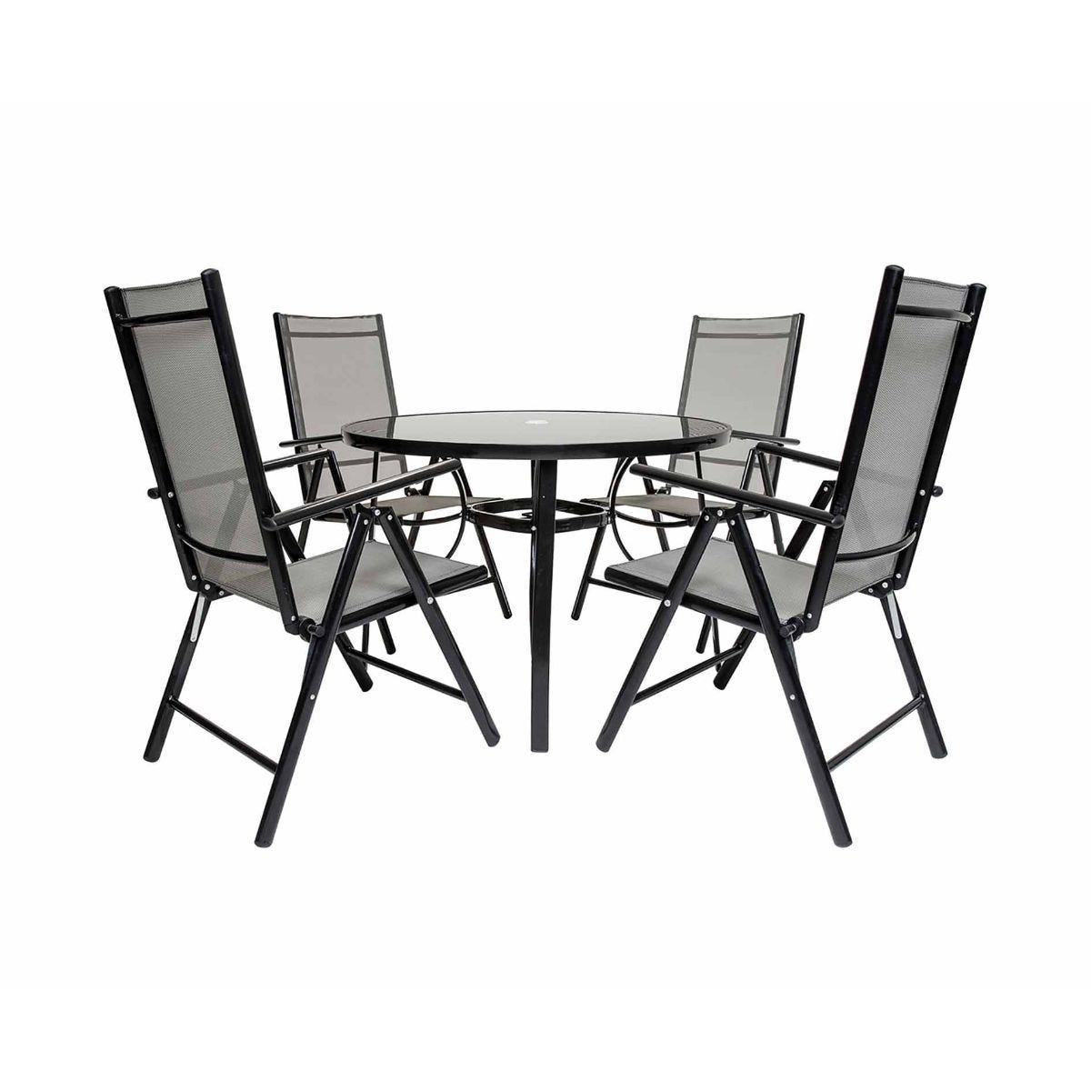 Charles Bentley Garden Mesh Dining Table and 4 Reclining Chairs, Black