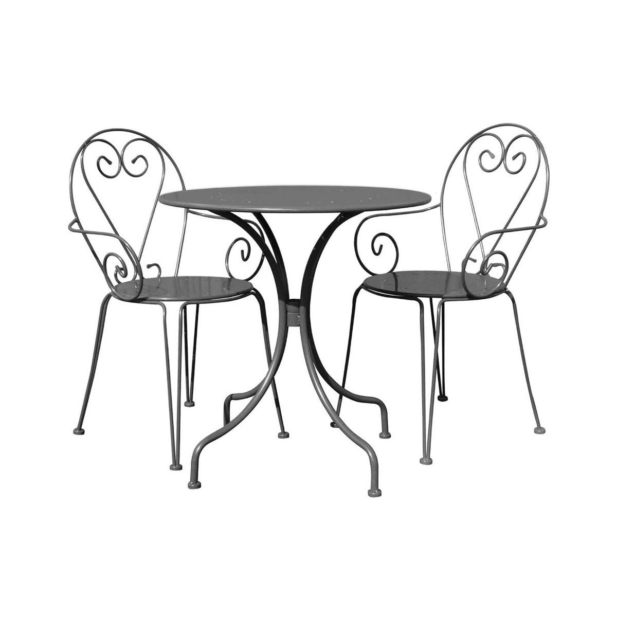 Charles Bentley Steel Heart 3 Piece Shabby Chic Garden Bistro Set, Grey