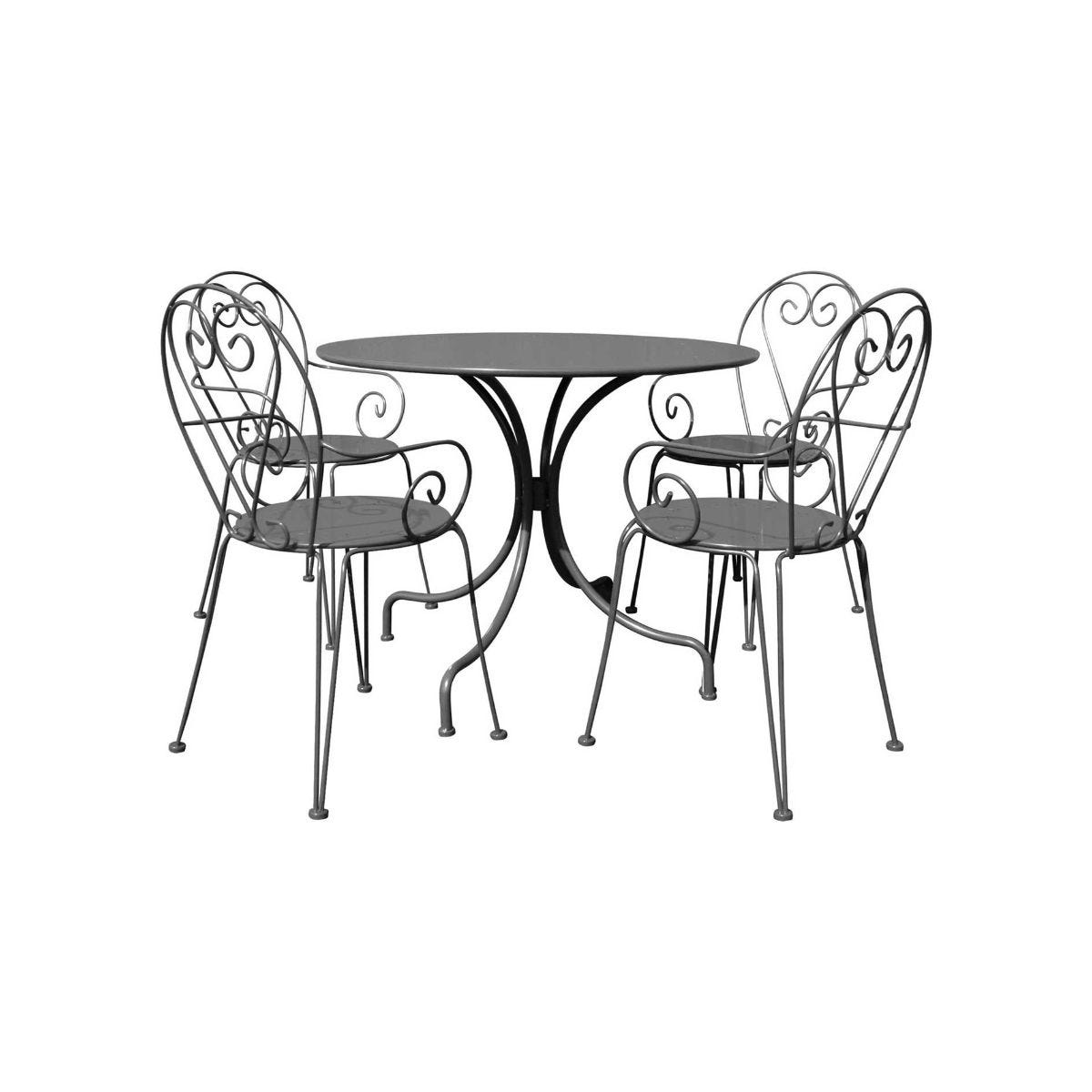 Charles Bentley Steel Heart 5 Piece Shabby Chic Garden Table and Chairs Set, Grey