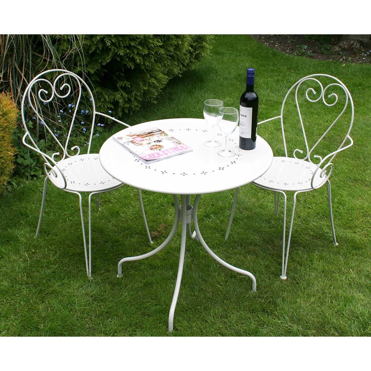 Charles Bentley Steel Heart 3 Piece Shabby Chic Garden Bistro Set, Cream