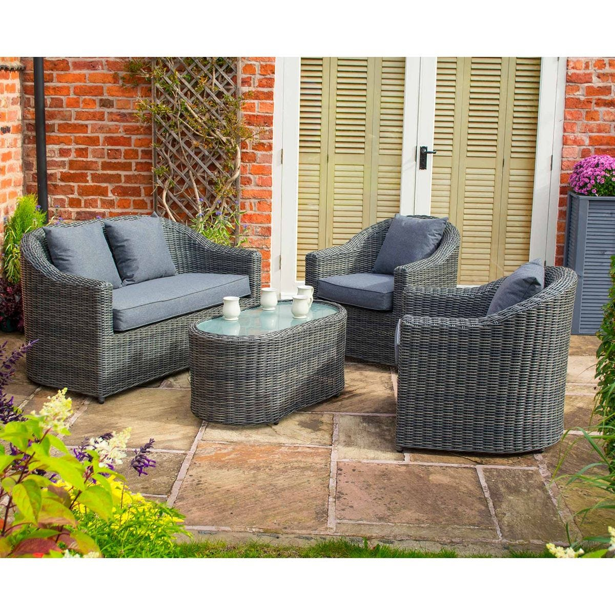 Rowlinson Bunbury Sofa Set, Grey