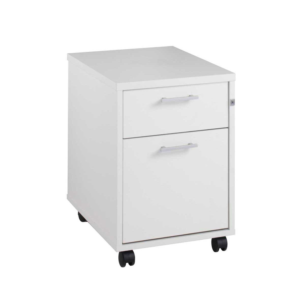 Image of 2 Drawer Mobile Pedestal, White