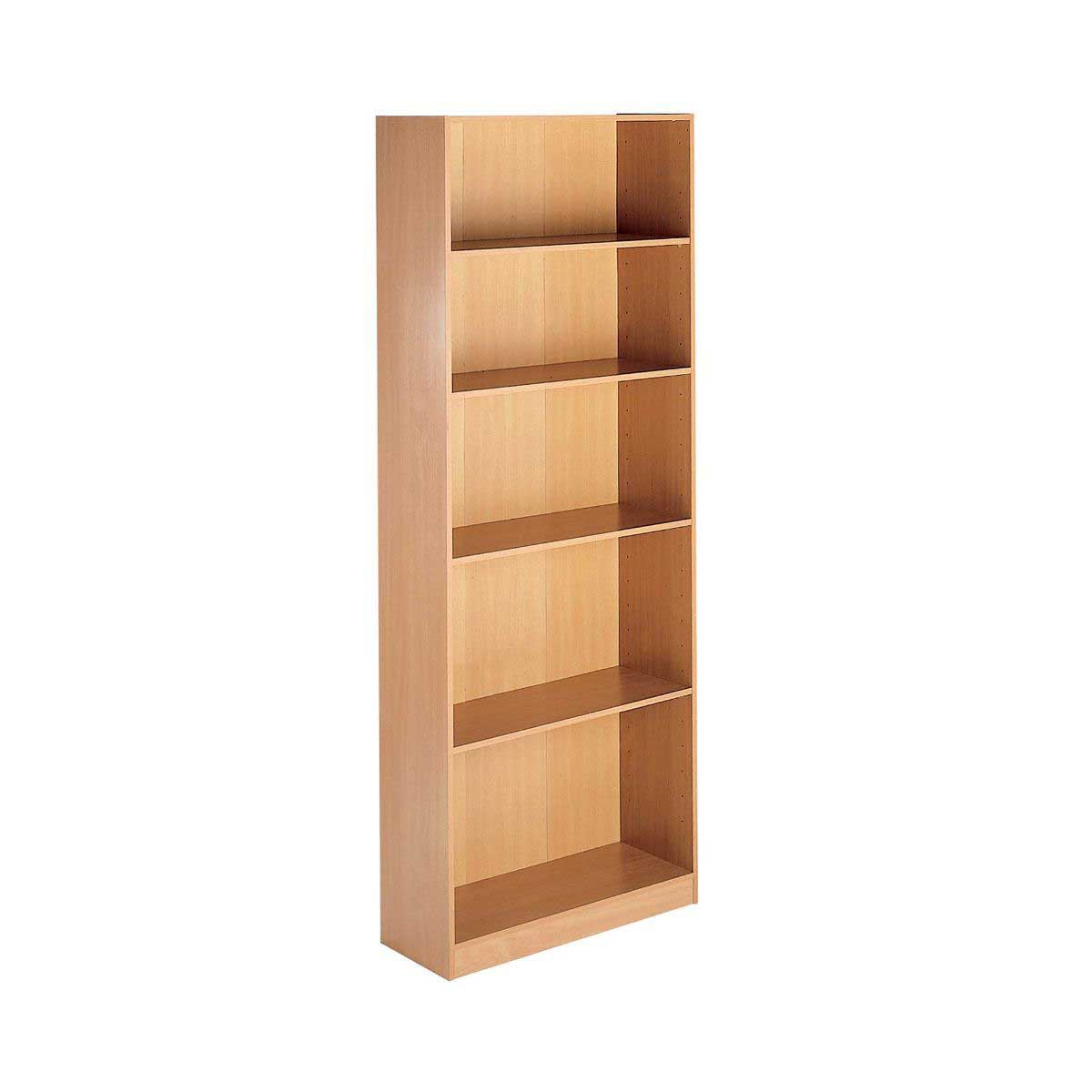 Maestro Tall Bookcase 5 Shelf Open, Beech Effect