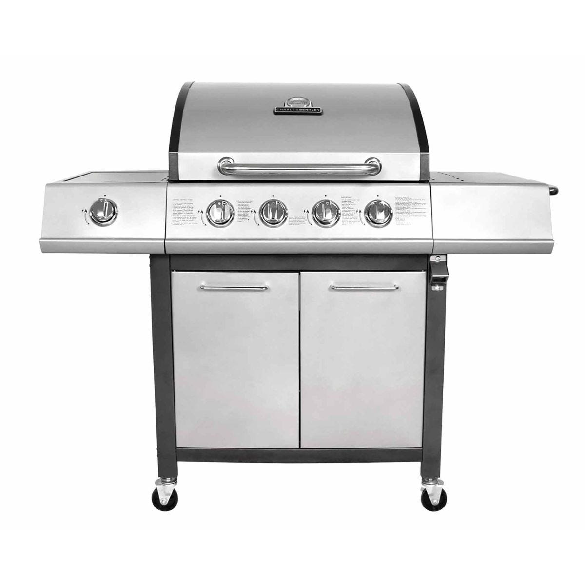 Image of Charles Bentley 5 Burner Premium Gas BBQ 4 x Burner plus 1 Side Burner, Grey