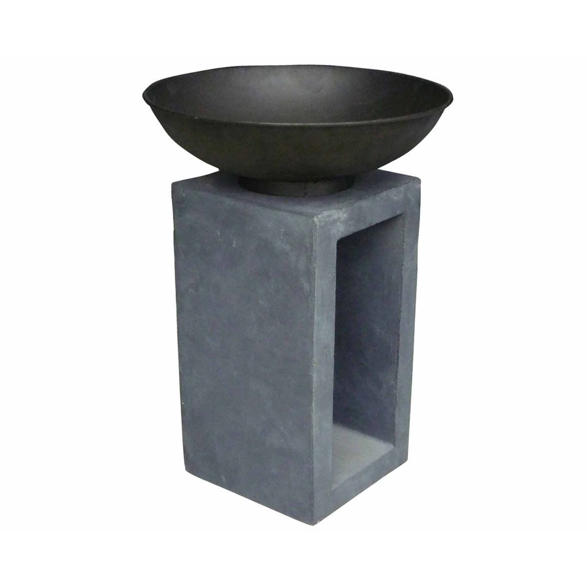 Image of Charles Bentley Medium Metal Fire Bowl with Hollow Console, Charcoal