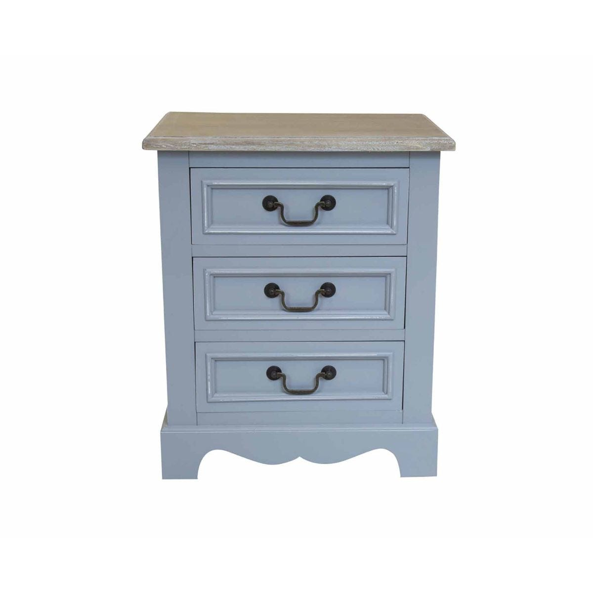 Charles Bentley Loxley Grey 3 Drawer Bedside Table, Grey