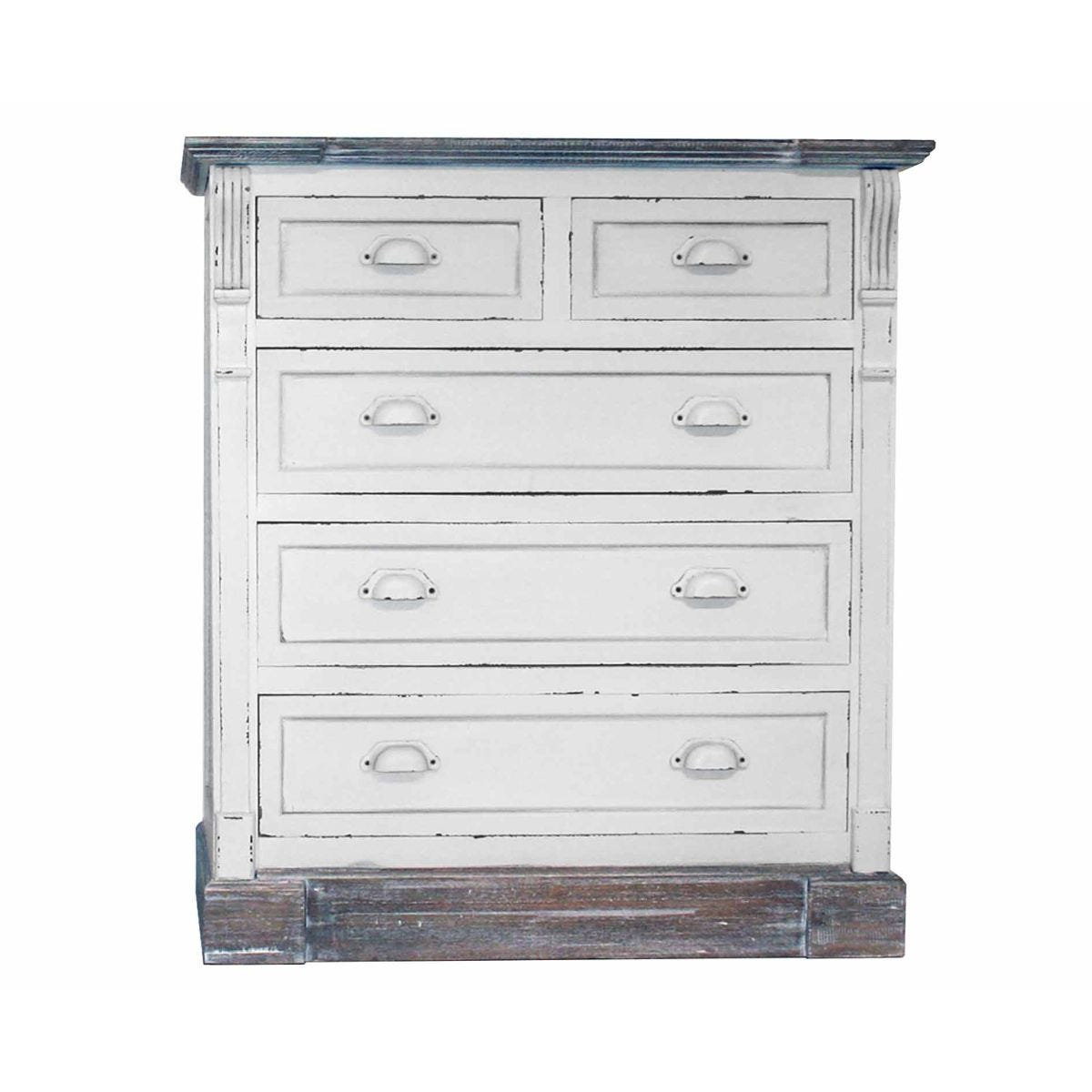 Charles Bentley Shabby Chic Chest of Drawers, White