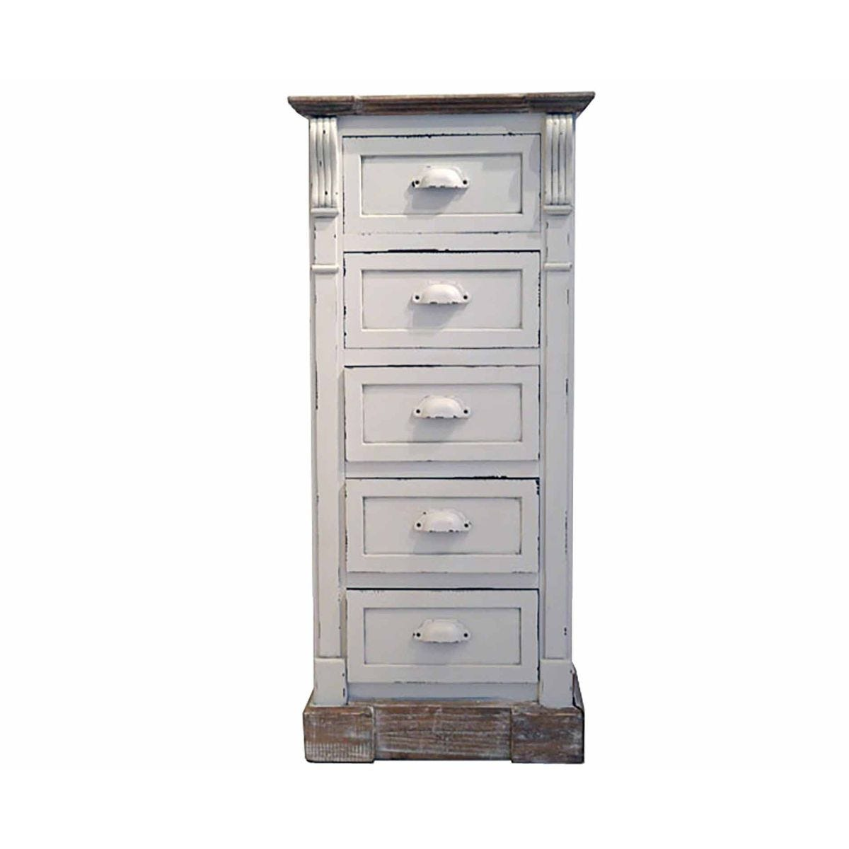Charles Bentley Shabby Chic Tall Chest of Drawers, White