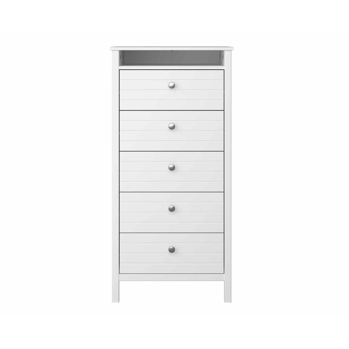 Steens New York 5 Drawer Narrow Chest, White