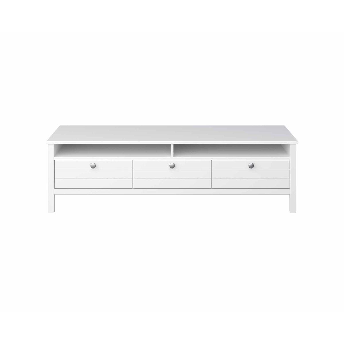Steens New York 3 Drawer TV Stand Unit, White